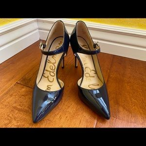 Navy blue patent high heel pumps with straps